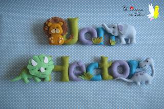 nombre-fieltro-animales-Jon-elbosquedelulu-hechoamanoparati-regalo-Héctor-personalizado-nacimiento-original-felt-banner