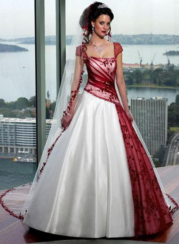 White Wedding Dresses With Red Accents