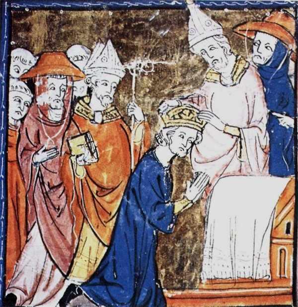 San León III Papa consagra a Carlomagno  emperador del Sacro Imperio en la noche de Navidad del año 800