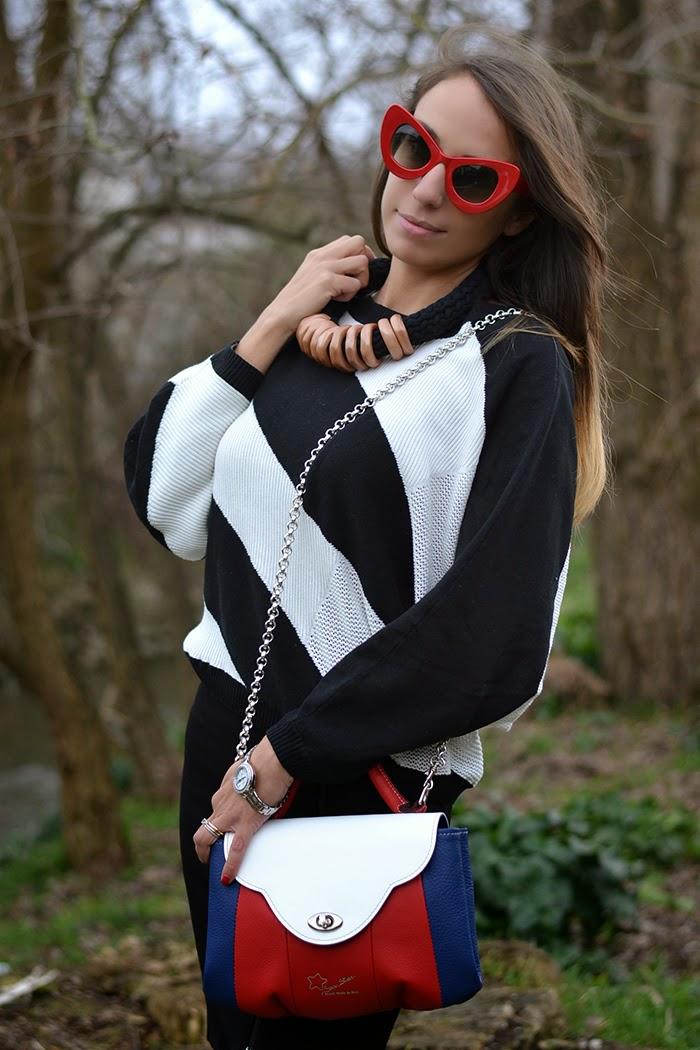 maglione asimmetrico bianco e nero