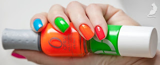 Orly Beach Cruiser + Orly Skinny Dip + Uslu Airlines HHP + Orly Melt Your Popsicle + Orly Hottie