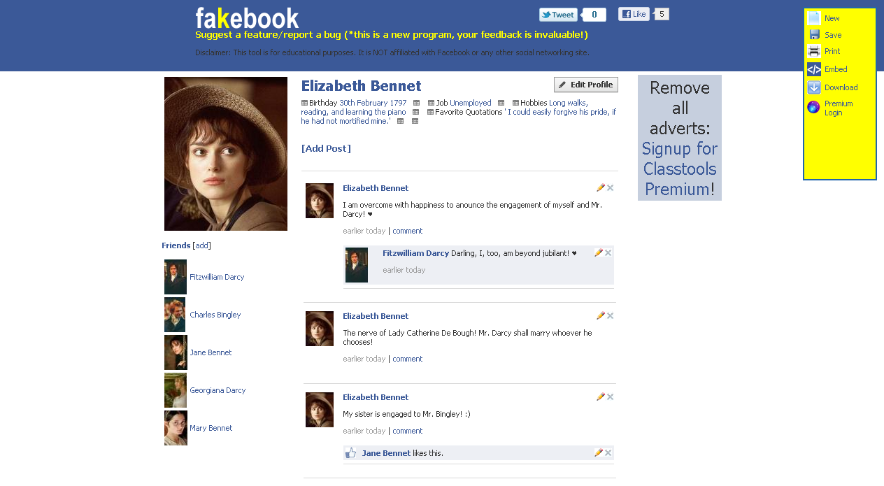 Teacher's Adventure: Fakebook - Make Fake Facebook Pages Using a ...