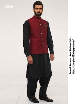 kas-583-black-shalwar-suit-with-maroon-silk-waist-coar-by-deepak-perwani
