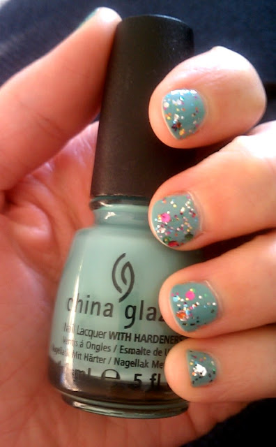 Glitter manicure using China Glaze For Audry and Nicole by OPI Rainbow in the S-Kylie.