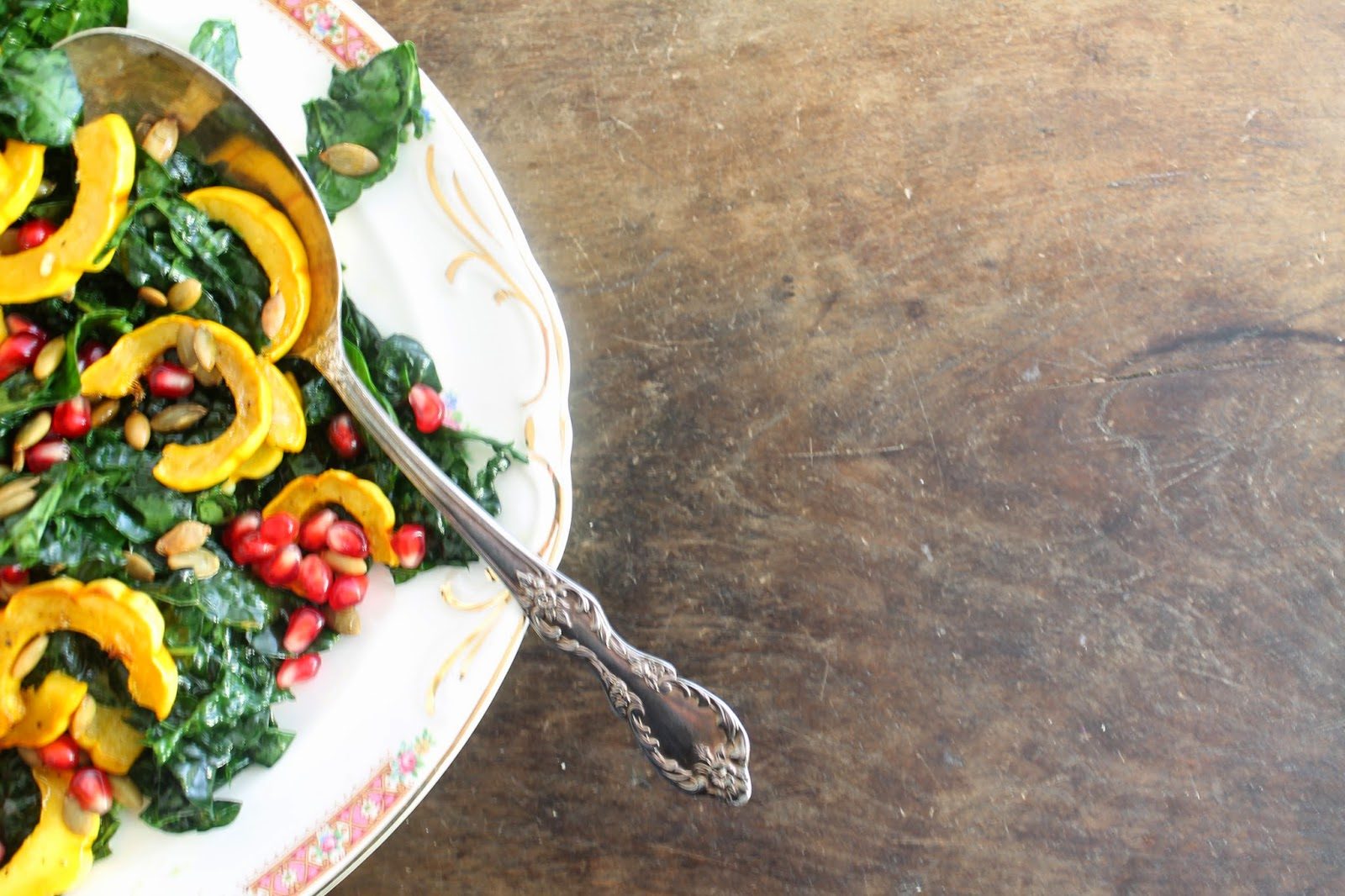 kale and delicata salad with pomegranate and rosemary