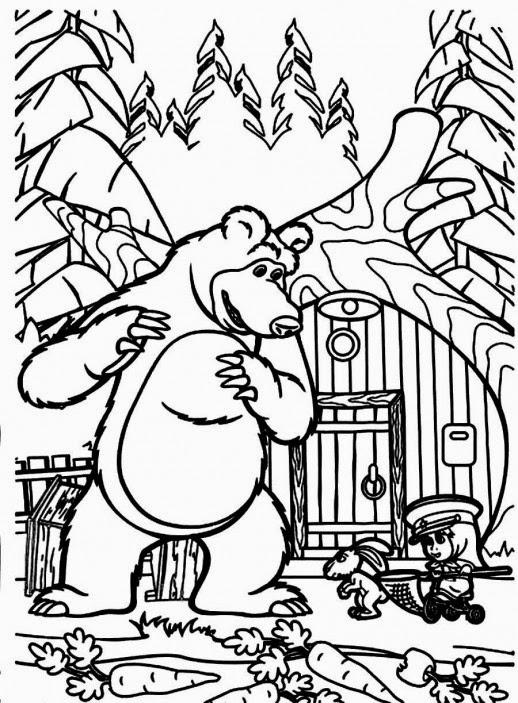 Ausmalbilder mascha und der b r ausmalbilder kostenlos for Masha e orso disegni da colorare