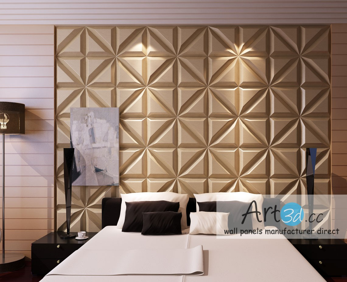 Leather Tiles In Bedroom Wall Design   Modern Wall Panel