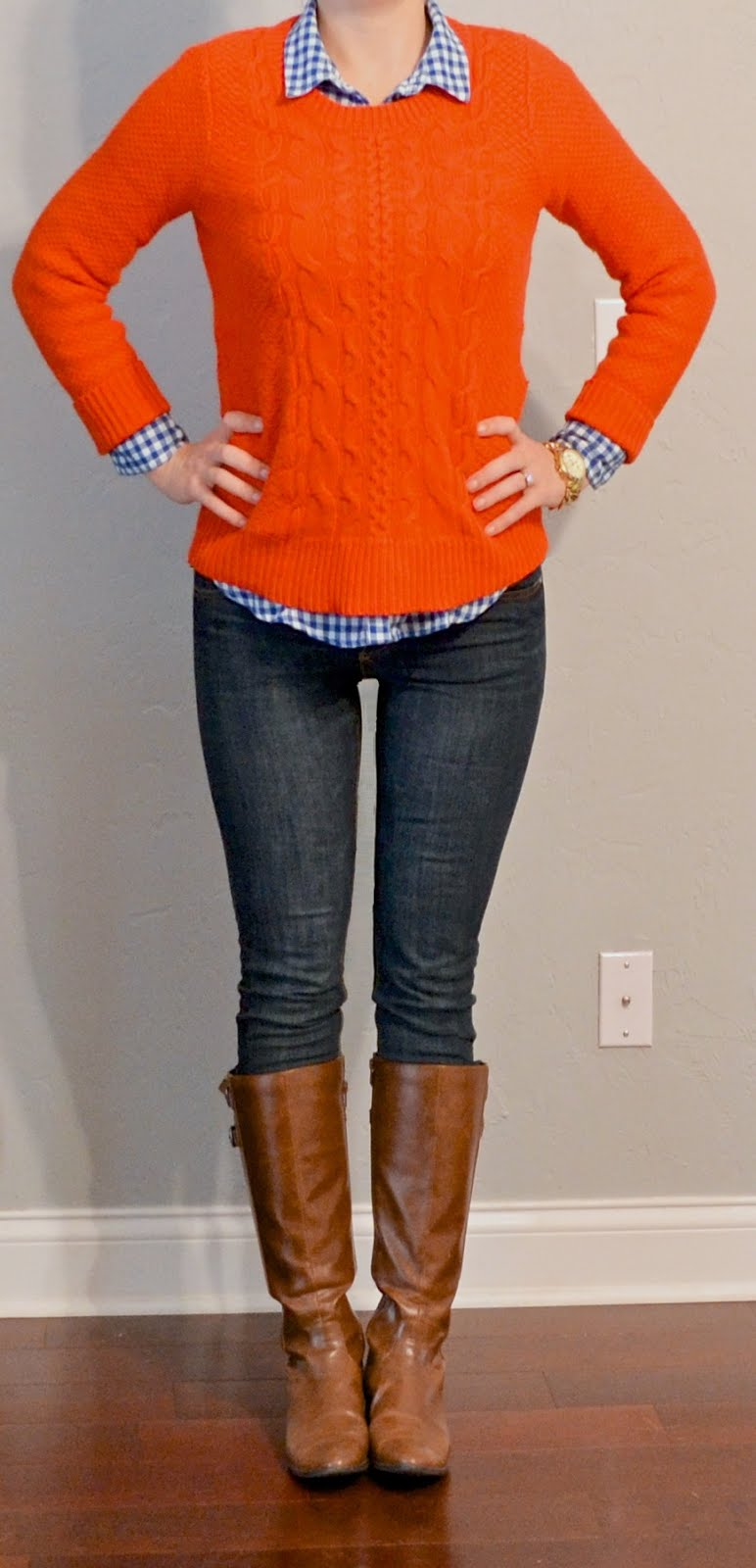 Outfit posts outfit post orange sweater blue plaid for Skinny jeans with shirt
