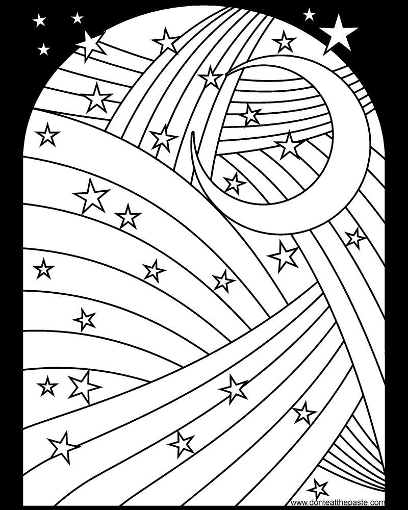 Rainbow, moon and stars coloring page- available in jpg and png format.