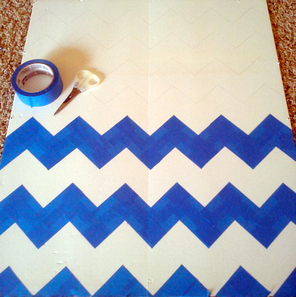 Use painters tape to create a more sturdy chevron pattern template