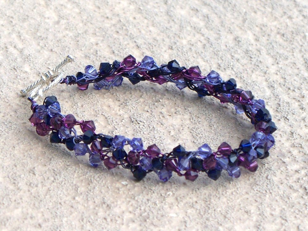 Purple Delight Swarovski Wire Crochet Bracelet