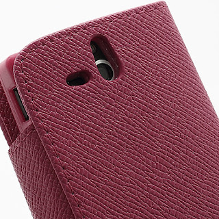 Leather Case Wallet Credit Card Slot Sony Xperia U ST25i - Magenta