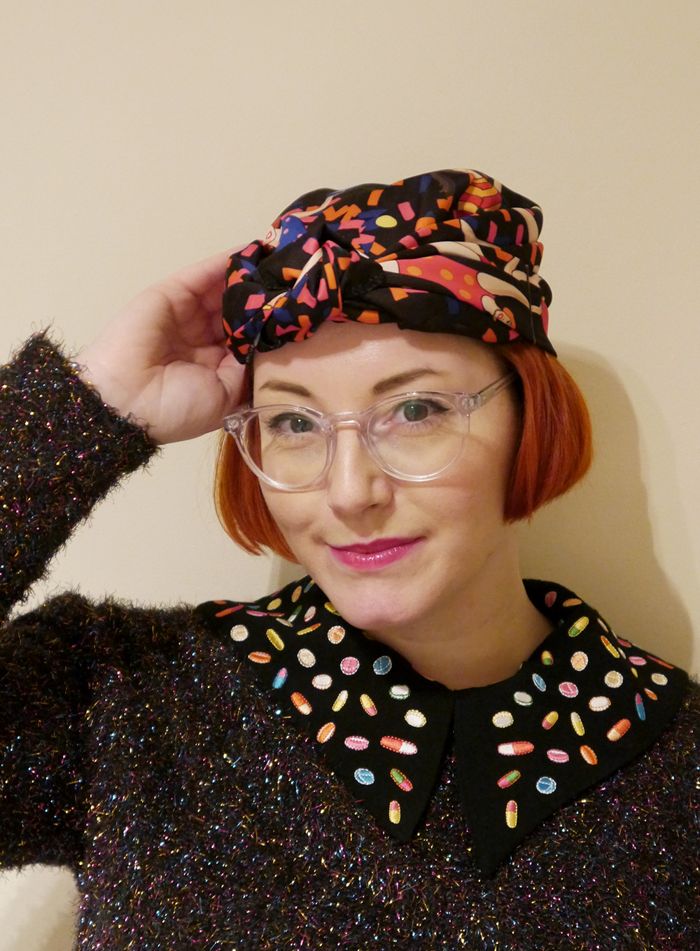 Scarf, scarf styling, scarf addict, easy ways to style a scarf, Scottish bloggers,turban, lush x Karen Mabon, how to style a turban