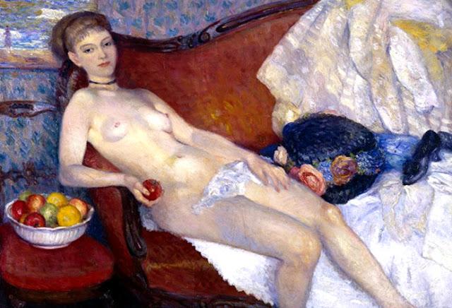 Cuerpos en el tiempo William-glackens-desnuda-con-manzana-obras-maestras-de-la-pintura-juan-carlos-boveri