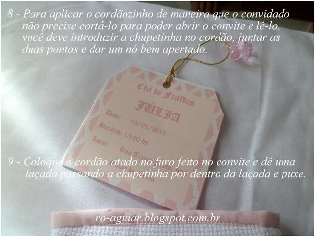 convite chá-de-fraldas original e lindo - bordado