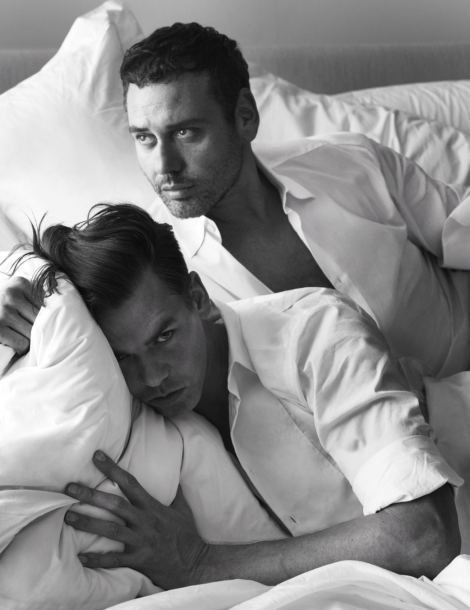 Mert & Marcus self portrait in 'Pillow Tweets' for W Magazine