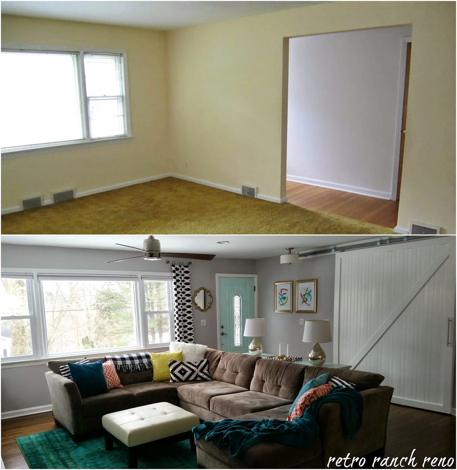 Living Room Renovation Before And After Retro Ranch Reno Our Rancher Before & After  The Living Room.