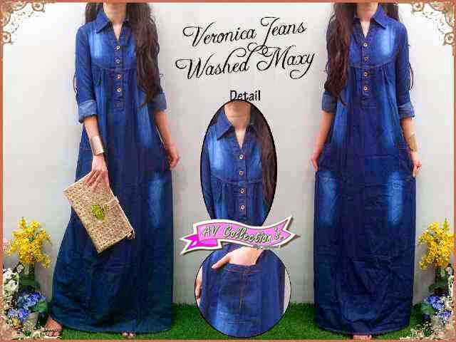 bahan Jeans Washed  Fit to XL Pjg140cm