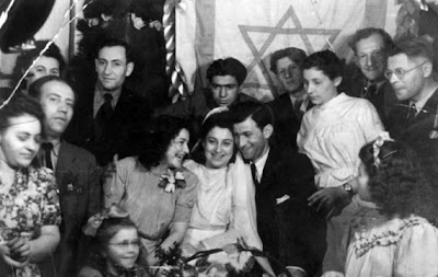 Two Holocaust survivors at their wedding in Rishon LeZion.