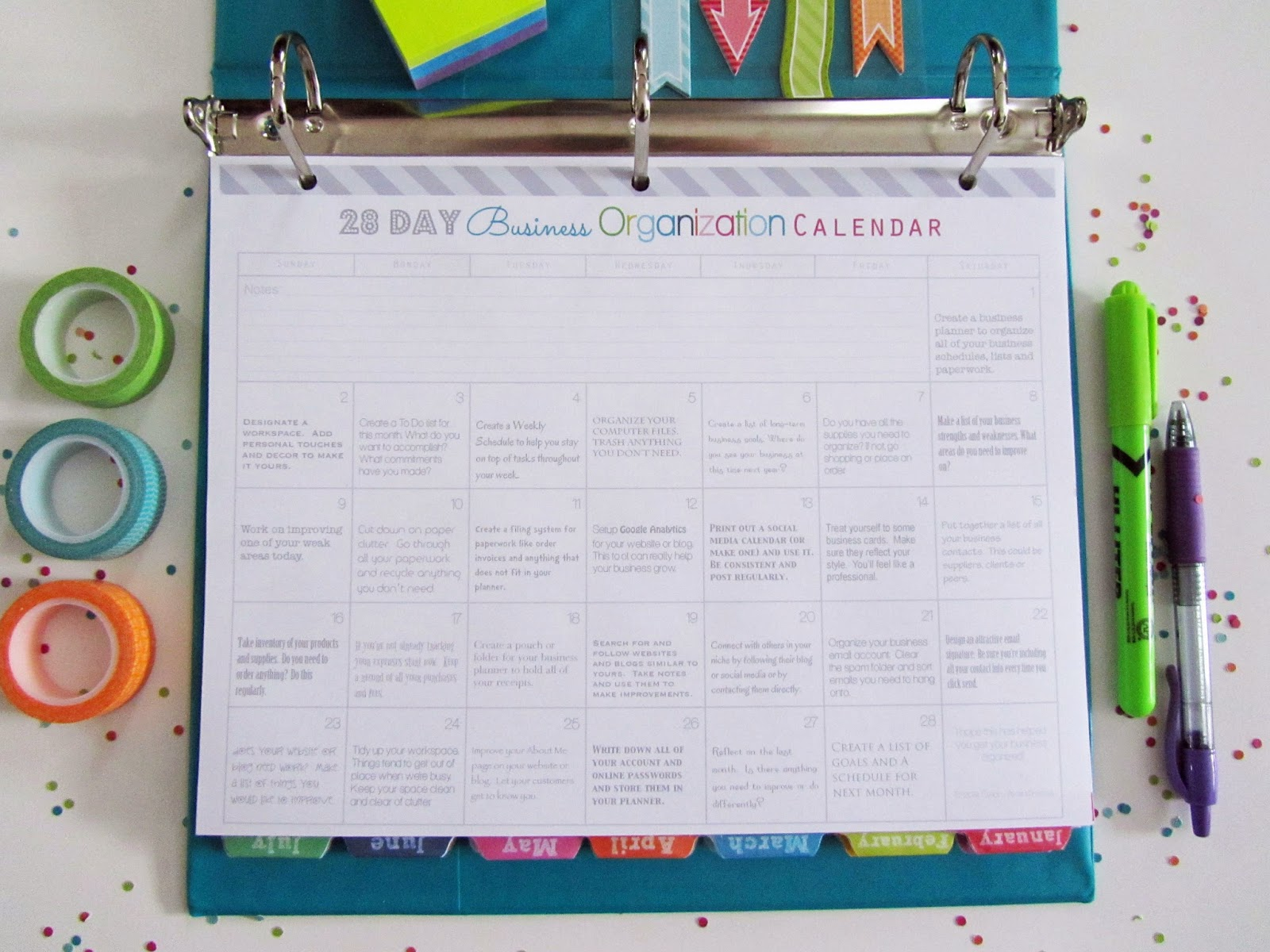 Organization Calendar : Clean life and home how to organize your business in