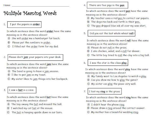 {multiple meaning words worksheets 2nd grade Termolak – Multiple Meaning Words Worksheets 7th Grade