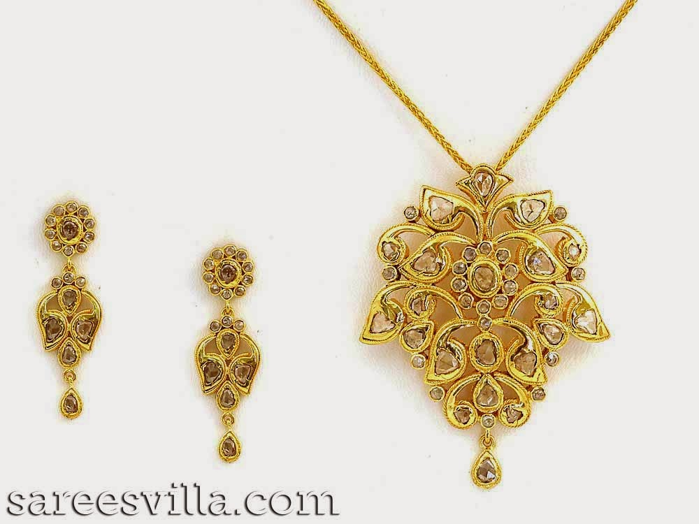 Uncut Diamond Pendants and Earrings