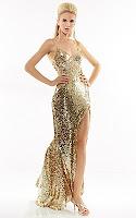 Златна рокля с тънки презрамки и голяма цепка, дизайн Riva Designs
