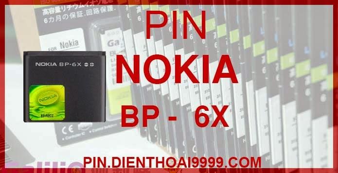 Pin Nokia BP 6X - Pin bp 6x chính hãng giá 170.000 - Pin bp 6x dung lượng cao 1150mAh giá 140.000 - Bảo hành: 6 tháng  - Pin tương thích với điện thoại Nokia 8800/ 8860/ 8800 Sirocco/ N73i   Thông số kĩ thuật:   - Pin BP 6X được thiết kế kiểu dáng và kích thước y như pin nguyên bản theo máy, Pin tiêu chuẩn, chất lượng như pin theo máy. - Kích thước: 36.5 mm x 31 mm x 5.7 mm - Dung lượng: 1150 mah - Điện thế: 3.7V - Công nghệ: Pin Li-ion Battery   Mô tả sản phẩm:  - Pin Galilio nhờ nghiên cứu và phát triển công nghệ lithium nên đã đạt được pin dung lượng cao nhất cho phép (từ 1,5- 2 lần) nhưng vẫn đảm bảo được chất lượng cao, đã vượt qua nhiều tiêu chuẩn chất lượng như ISO 9001, ISO 1400I, CERTIFICATED, hãng cũng ứng dụng Công Nghệ an toàn mà những hãng pin khác không có được: Controller IC, Control swithches, Temperature Fuse.. - Thiết kế kiểu dáng và kích thước y như pin nguyên bản theo máy, thuận tiện và dễ dàng thao tác, pin dung lượng cao cung cấp đủ nguồn điện cho máy sử dụng được trong thời gian dài, có thể mang đi bất cứ đâu để phòng khi pin của máy bạn hết mà không có điều kiện để sạc. - Cho phép bạn giữ các cuộc nói chuyện và bảo đảm cho bạn không bỏ lỡ các cuộc gọi điện thoại quan trọng - Pin sạc bằng cách gắn vào điện thoại và sạc như pin gốc - Sản phẩm đạt tiêu chuẩn tuyệt đối về an toàn cháy nổ - Bảo hành đổi pin mới trong 6 tháng.  GIAO HÀNG VÀ BẢO HÀNH TẬN NHÀ  Quý khách có nhu cầu mua pin,  hãy liên hệ với chúng tôi:  0904.691.851 - 0976.997.907  Website: http://pin.dienthoai9999.com Mua số lượng lớn: 0942299241  - Hướng dẫn sử dụng, bảo quản pin: http://pin.dienthoai9999.com/p/huong-dan-su-dung-pin - Quy định bảo hành: http://pin.dienthoai9999.com/p/quy-dinh-bao-hanh-pin - Khách hàng góp ý: http://pin.dienthoai9999.com/p/khach-hang-gop-y  Xem thêm pin cùng loại:  - - -   Một số điện thoại dùng được pin dung lượng cao BP 6X:  Nokia N73i : Thời trang đa phương tiện  Nokia N73 có mặt trên thị trường được hơn một tháng và hiện được hãng điện thoại Phần 
