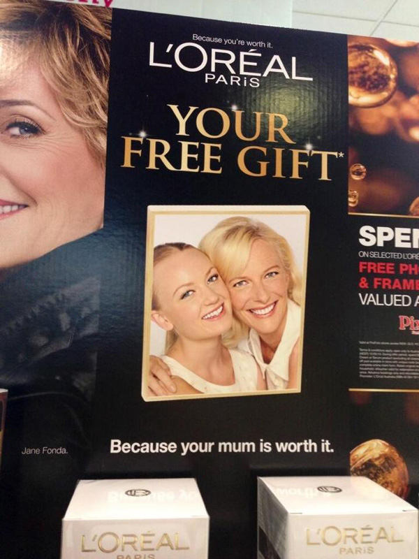 Point of Sale - Mother and Daughter beauty portrait for L'OREAL Mothers Day promotion.