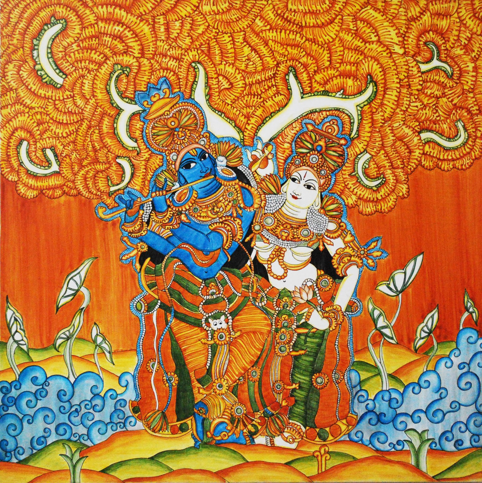 My blue room kerala mural painting radha krishna for Mural radha krishna