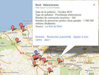 Carte de la pollution de l'eau dans la région Nord-Pas-de-Calais