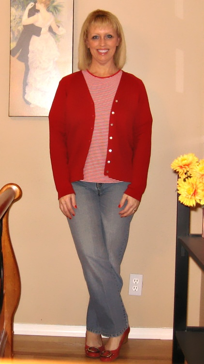 Red Cardigan and striped t-shirt