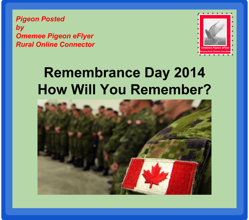 image Omemee Pigeon Posted: Remembrance Day How will you Remember  Soldiers in green fatigues with Canadian shoulder patch