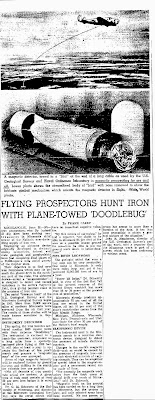FLYING PROSPECTORS - HUNT IRON WITH PLANE-TOWED 'DOODLEBUG' - Oakland Tribune 6-27-1948