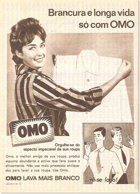 Propaganda do Sabão OMO em 1964: campanhas desde aquela época buscam valorizar o branco impecável do sabão em pó.