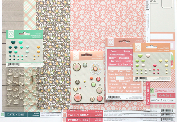 Meghann Andrew Chickaniddy Crafts Spring Layout supplies