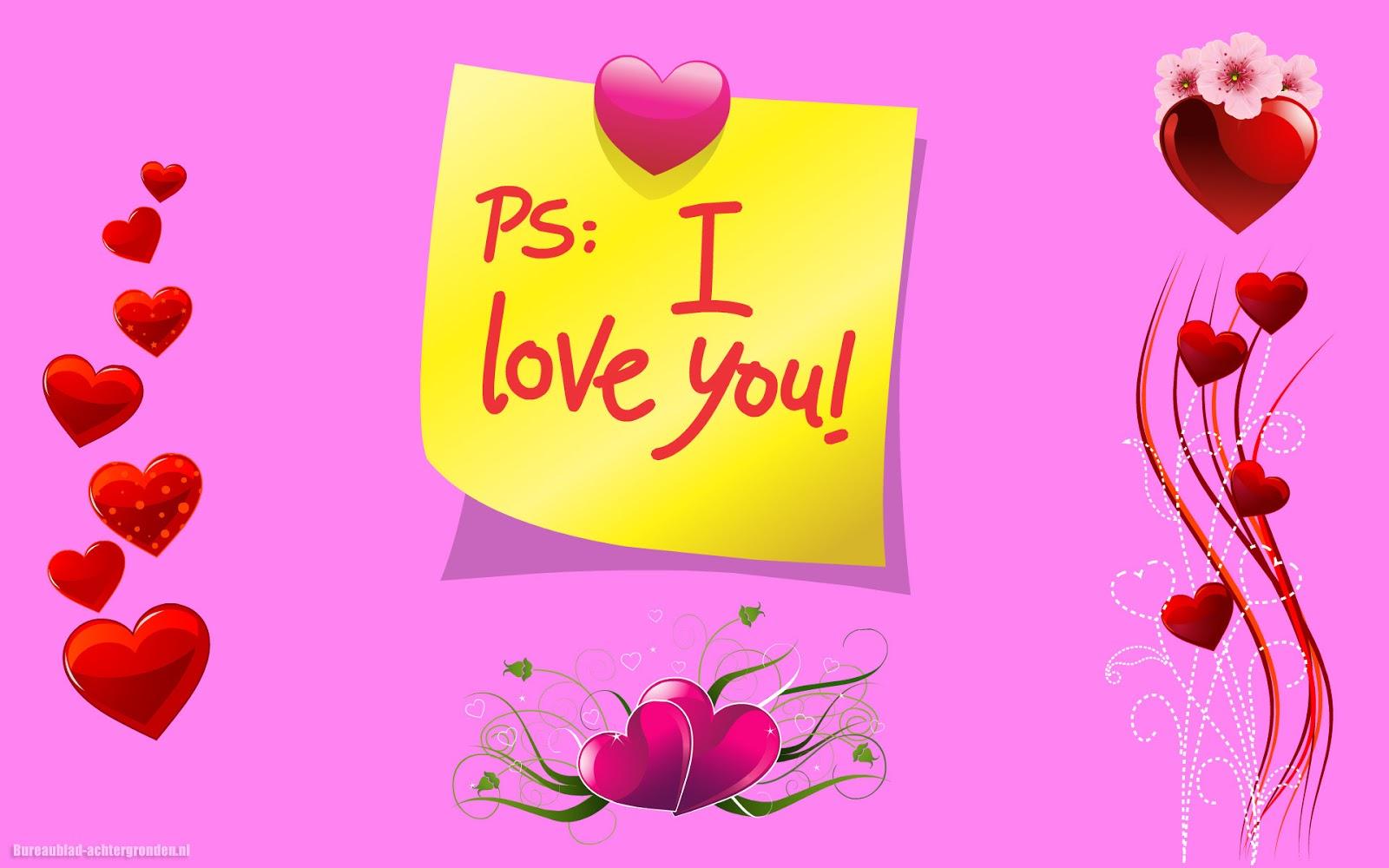 Roze liefdes wallpaper met hartjes en tekst i love you mooie roze liefdes wallpaper met hartjes en tekst i love you voltagebd Images