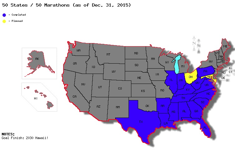 50 States - 50 Marathons (as of May 1, 2015)