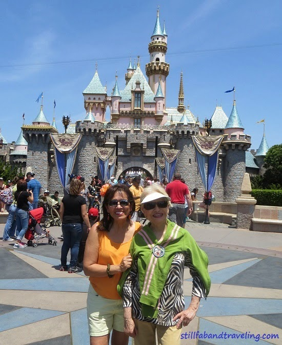 photo in front of Cinderella Castle in Disneyland