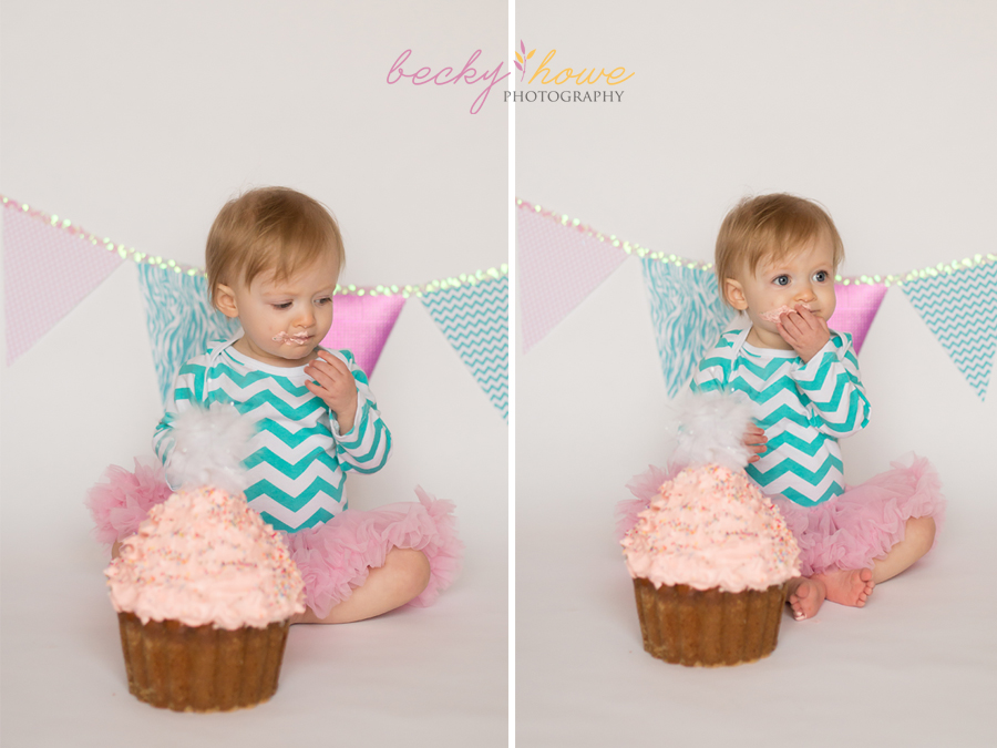 cake smash photography one year old girl pink green