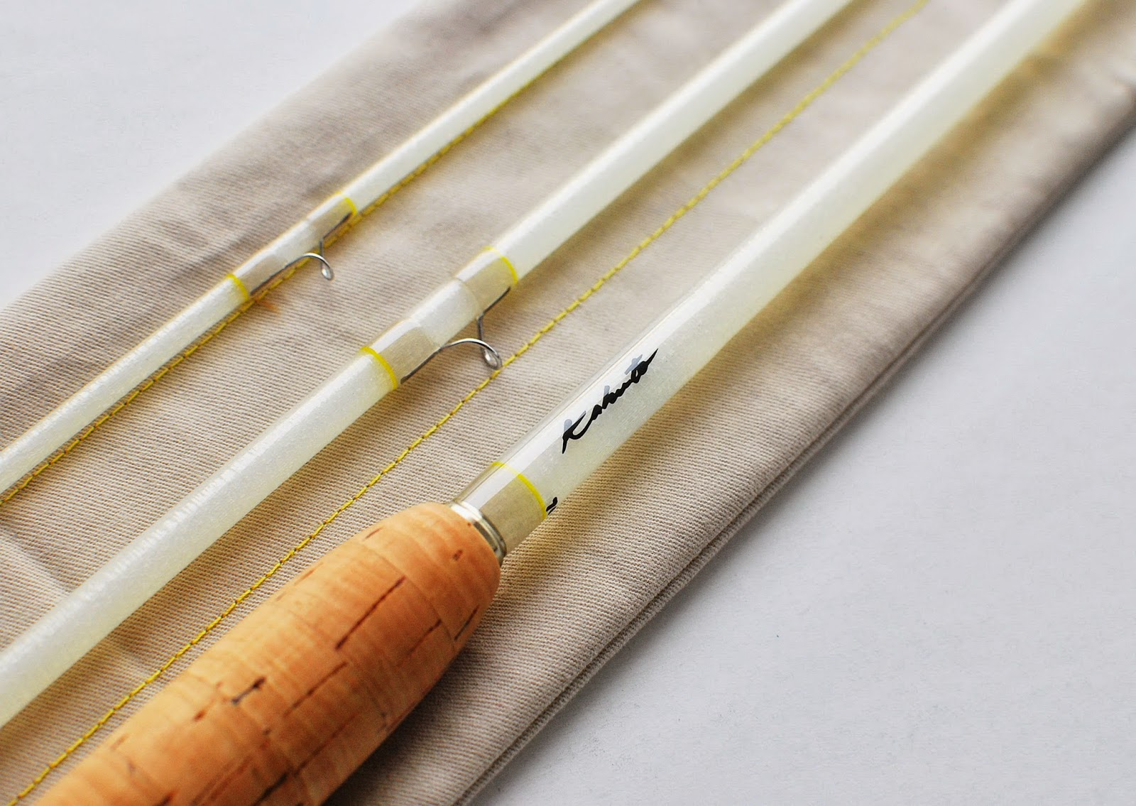 Handcrafted graphite and fiberglass fly rods kabuto white for White fishing rod