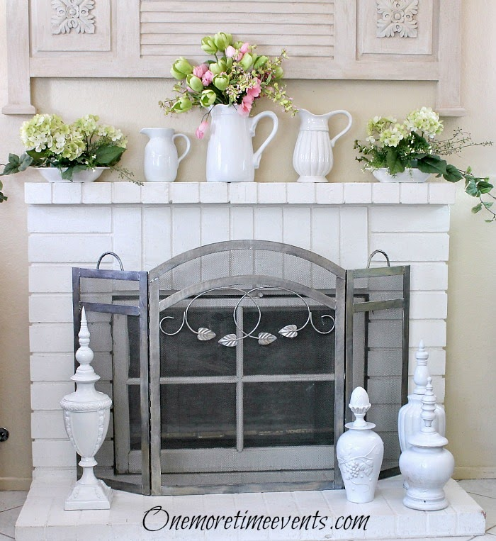 Decorating for spring with white pieces for Spring at One More Time Events.com