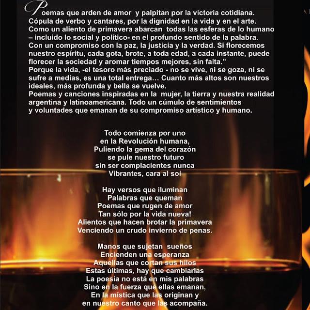 """Versos que iluminan… Palabras que queman"""" Agradecimientos: De"""