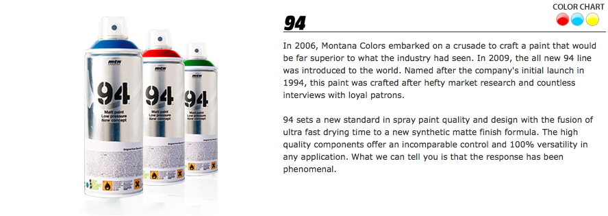 Design Context Range Of Montana Colours Spray Cans