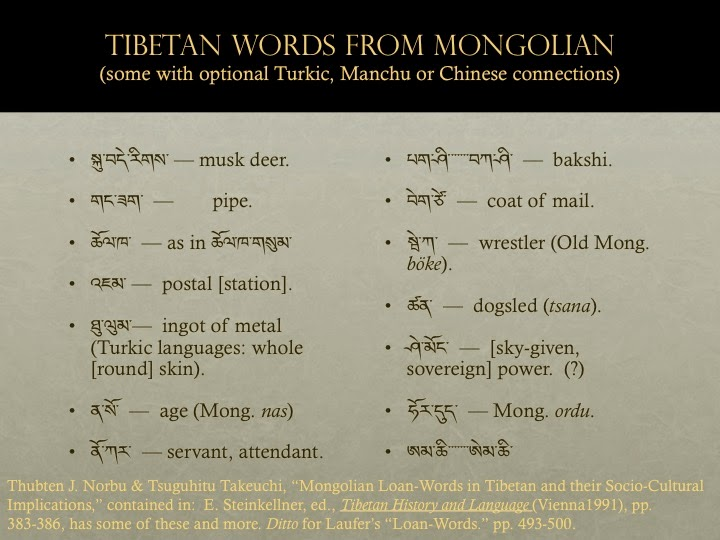 Tibeto logic turkish mongolian loanwords m4hsunfo