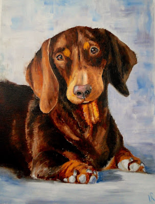 Oil painting of a dachshund, davie portrait, pet portrait by Karen