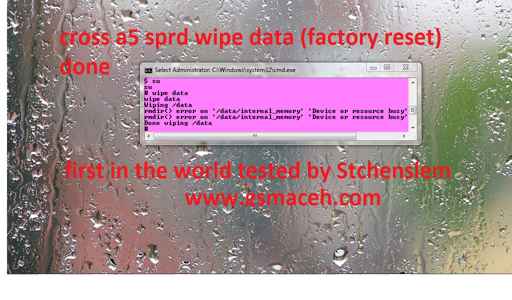 How to hard reset (wipe full data) any sprd sp8810 via adb shell ?  1. Download adb tool 2. Open CMD 3. Type adb shell 4. Connected USB to your Cross A5 or any sprd phone 5. Type su 6.Then type wipe data 7.Wait until phone reboot.  Your problem now Solved.
