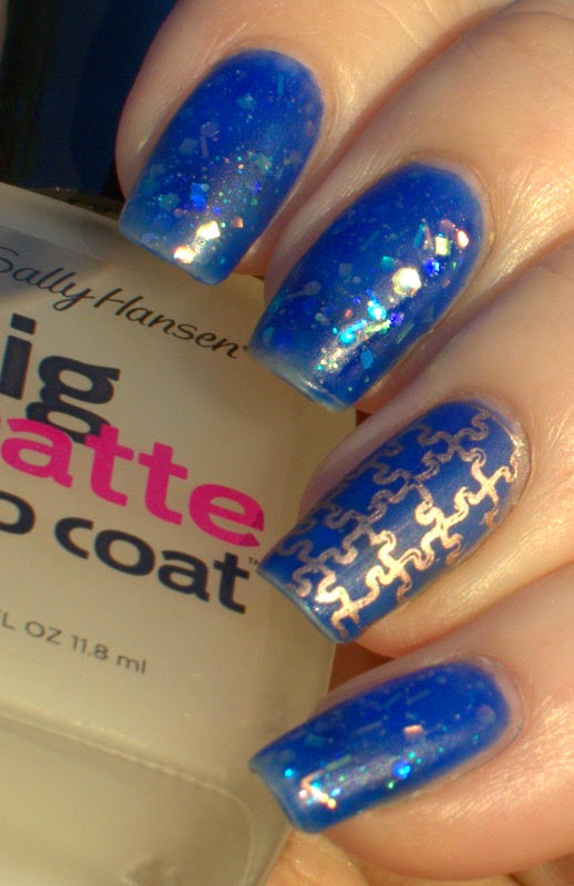 L'Oreal Miss Pixie with Cirque Magic Hour and Essie Penny Talk stamping with Sally Hansen Big Matte Top Coat