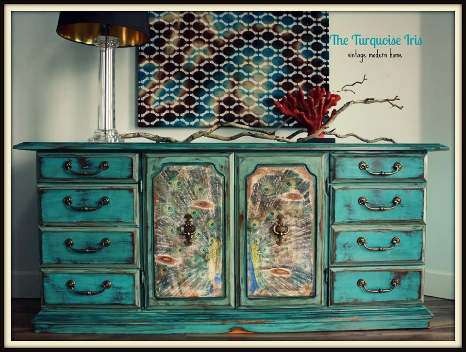 the turquoise iris furniture art peacock buffet in three shades