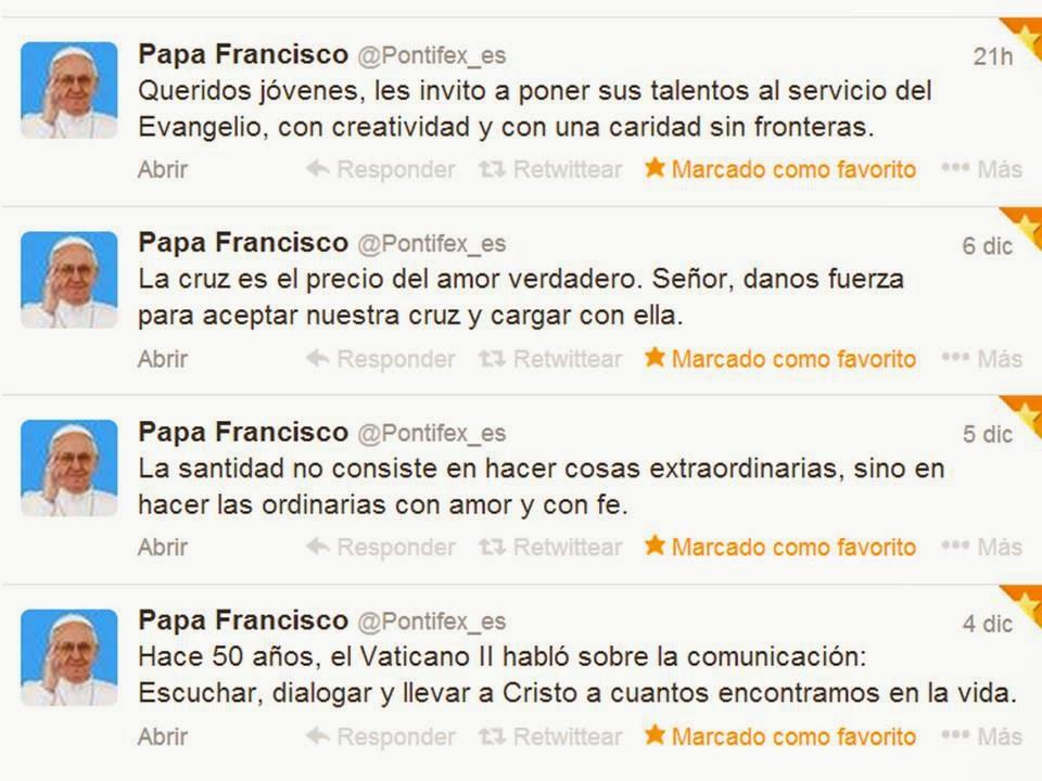 Resultado de imagen para tweets del papa francisco